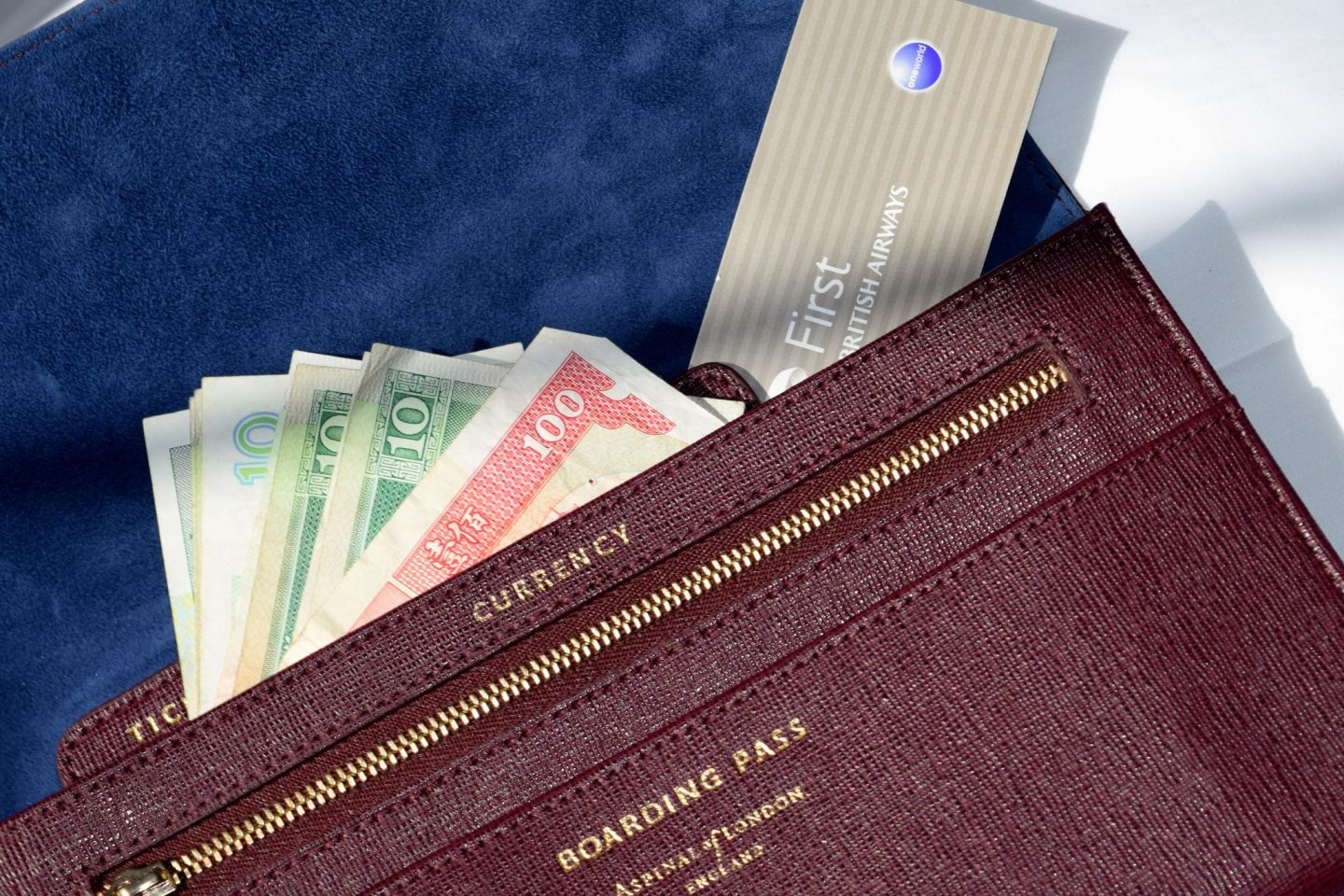 Aspinal of London Travel Wallet interior