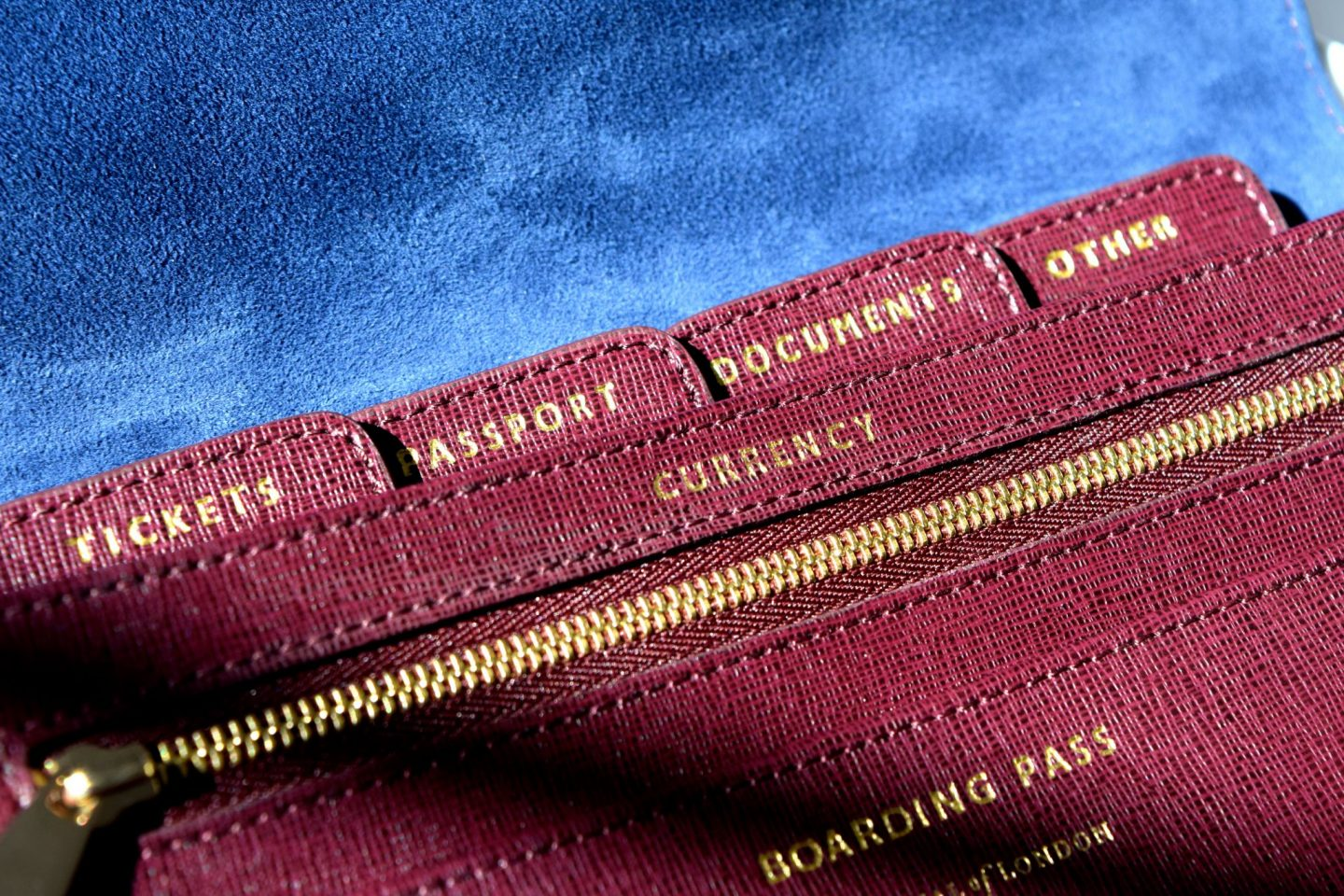 Aspinal of London Travel Wallet interior detail