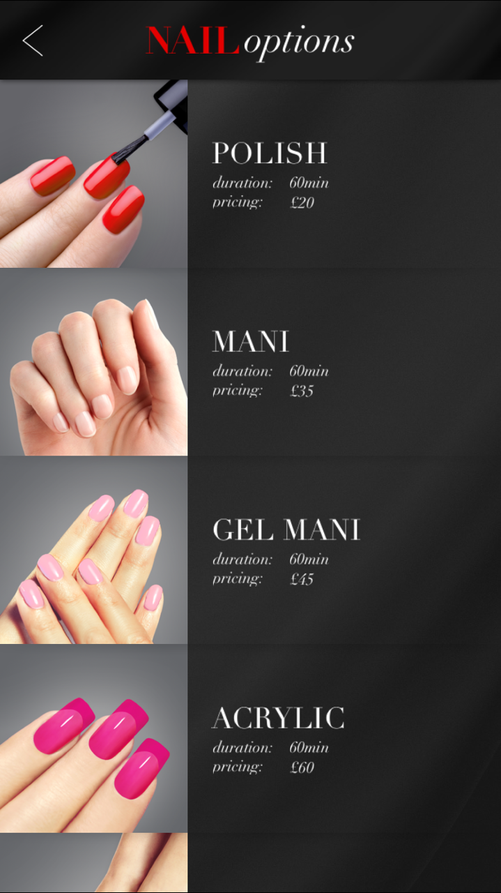 The Glam App Nail Options