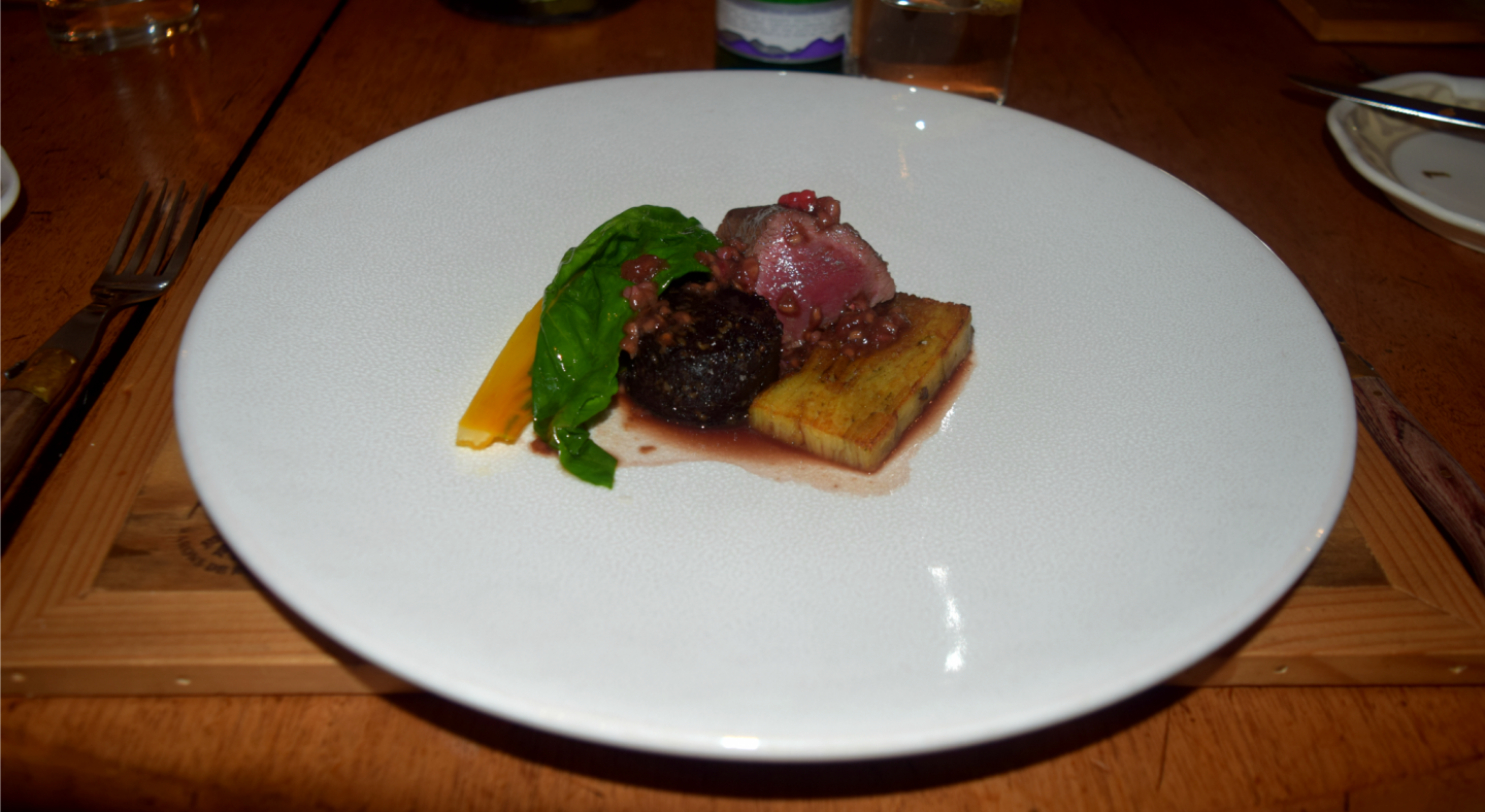 Venison loin, black pudding, potato terrine, carrot, raspberries